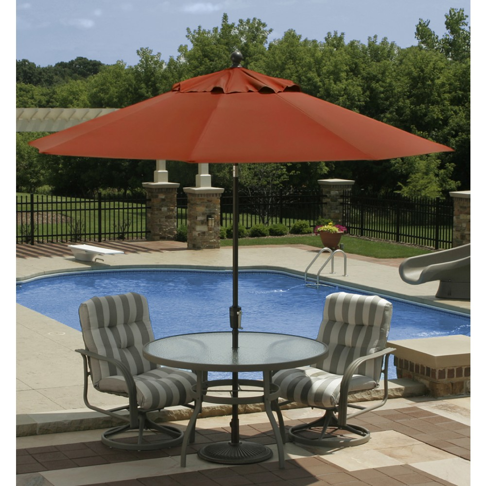 9 39 octagon autotilt market umbrella terra cotta linen Rectangle vs round pool