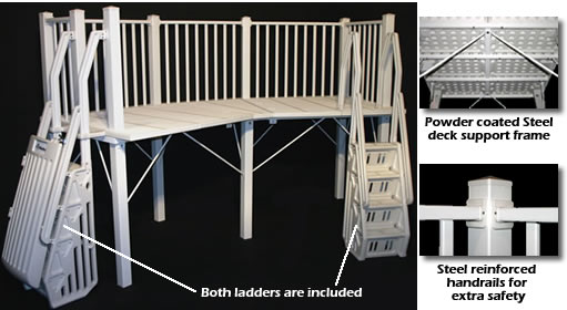 5 39 x 13 39 deck system w ladders in taupe sold out Rectangle vs round pool