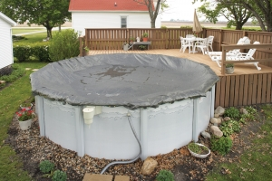 Gray 21/' Round Above Ground Swimming Pool Mesh Winter Cover 10 Year