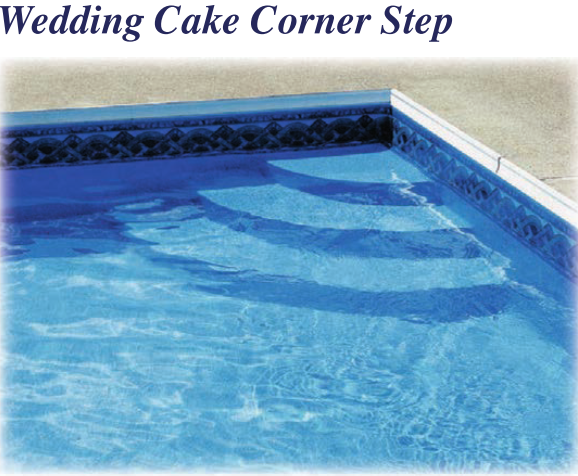 Polymer Wedding Cake Vinyl Over Steps | Royal Swimming Pools