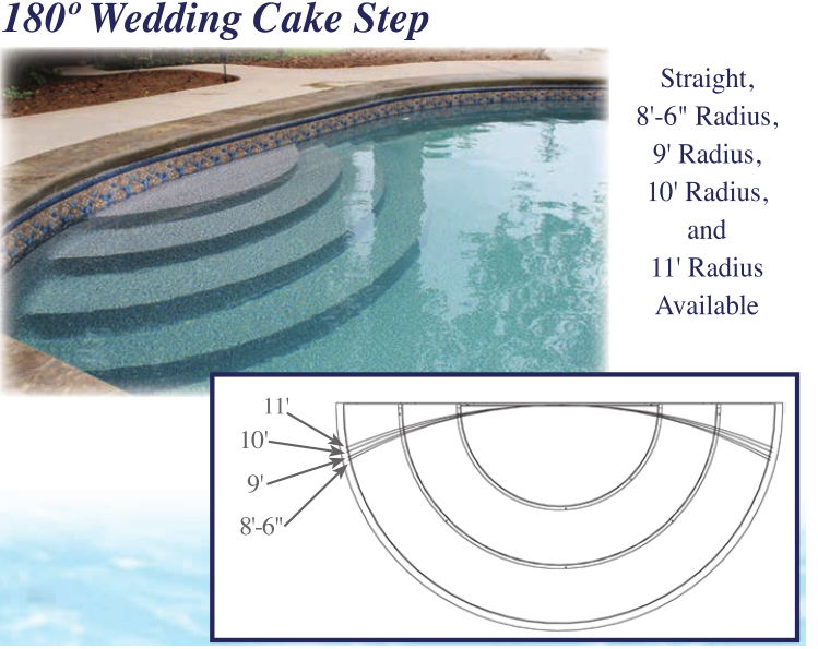 Latham Polymer Wedding Cake Step 180 Degree ST9001 | Royal Swimming Pools