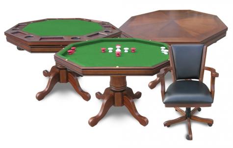 Walnut Kingston 3 In 1 Poker Table W/4 Chairs