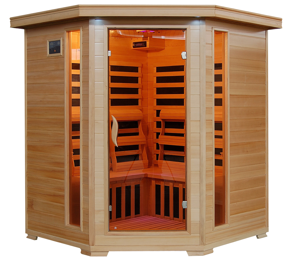 Tucson   Hemlock 4 Person Sauna   Carbon Heaters   Corner Unit | Royal  Swimming Pools