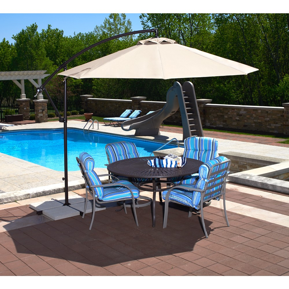 Santiago 10 39 cantilever umbrella champagne linen olefin Rectangle vs round pool