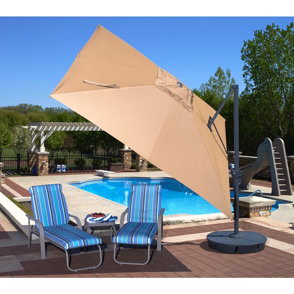 Santorini II Cantilever Umbrella (10\' Square) - Sunbrella Acrylic Antique  Beige