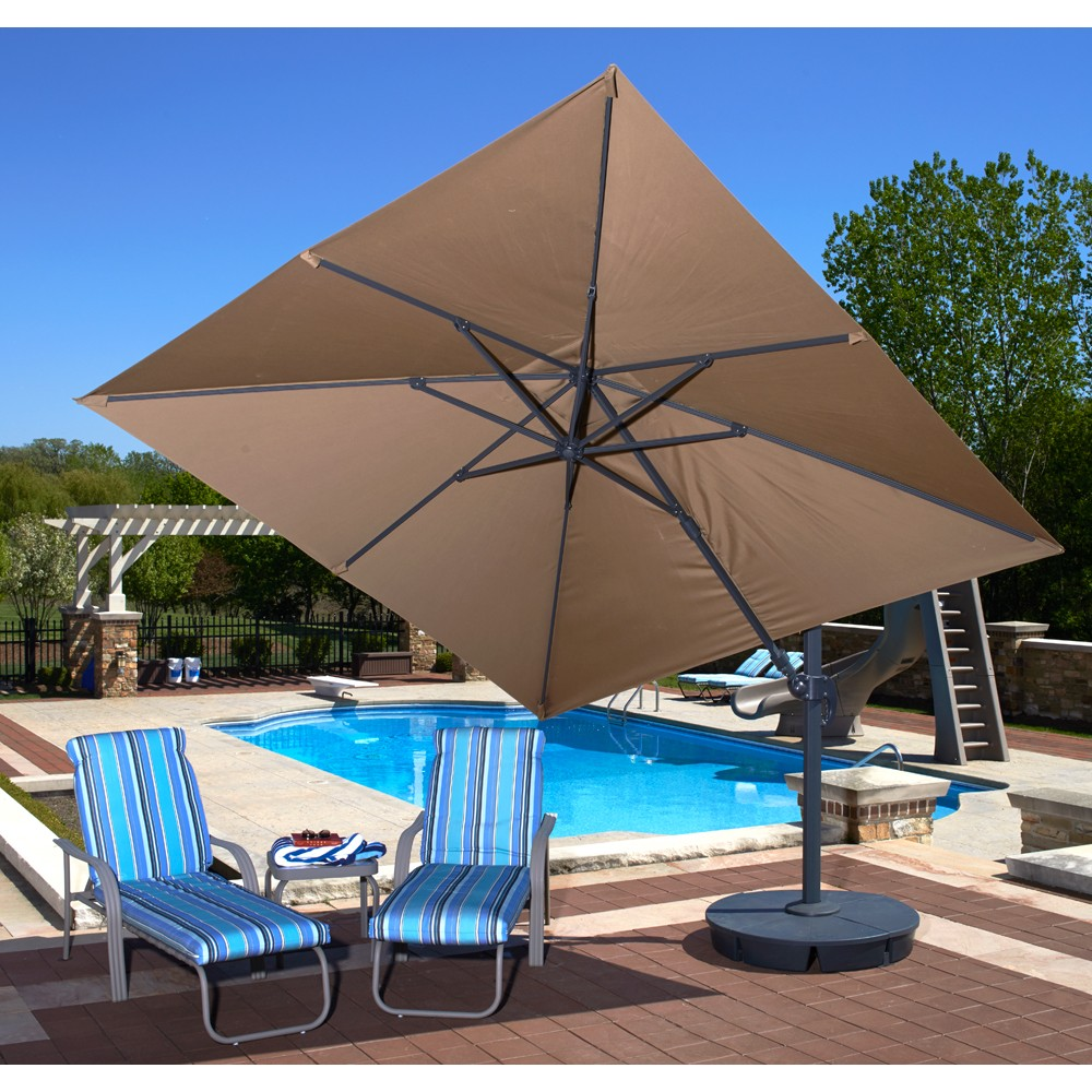 Santorini II Cantilever Umbrella (10\' Square) - Sunbrella Acrylic Stone