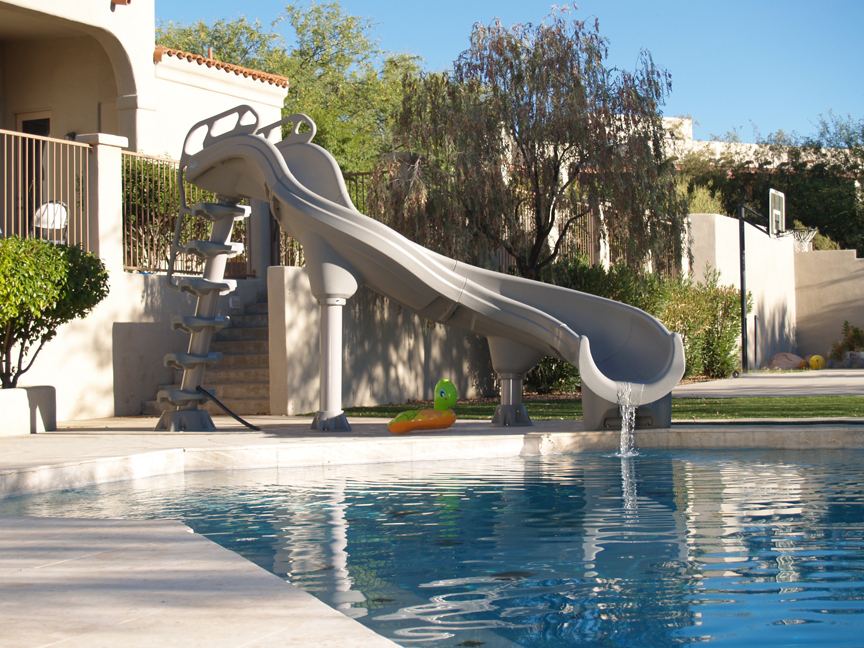 Swimming pool slides