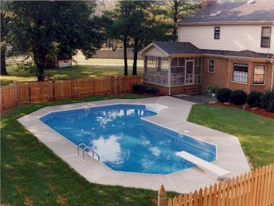 Grecian l shape inground pool kits royal swimming pools for Grecian pool dimensions