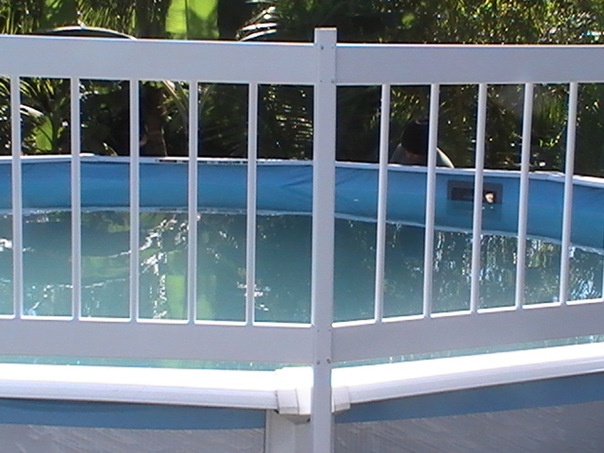 Above ground swimming pool fence and deck kits for Above ground pool decks and fencing