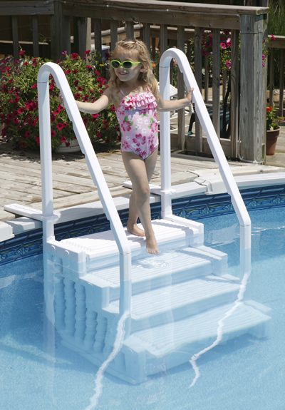 the step alone is great for above ground pools with an attached deck included deck flanges secure your walk in step in place for safe and easy entry exit