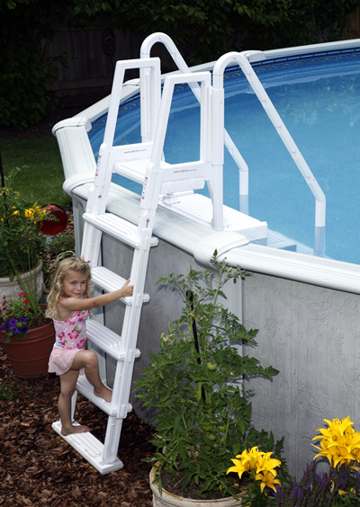 this entry system is perfect for above ground pools without an attached deck the outside ladder attaches to the walk in step and can swing into a