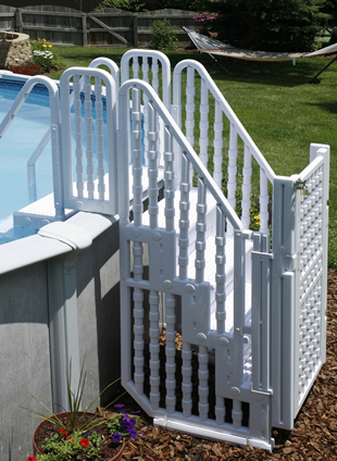 The System Includes Two Walk In Steps   One That Goes In The Pool And One  To Enter From ...