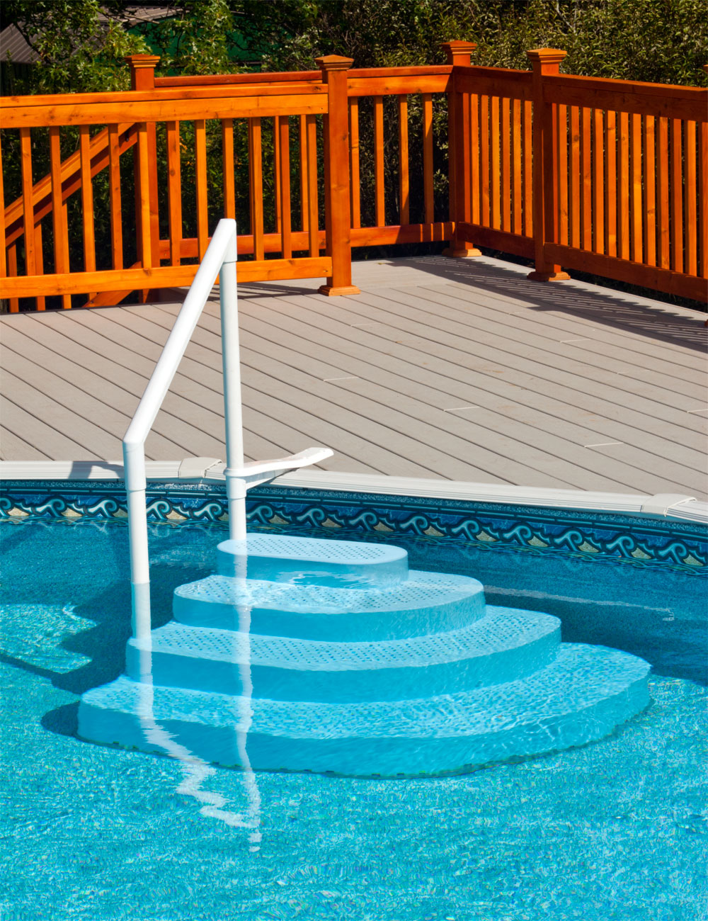 ruggedly built beautiful pool step doubles as a great seating area for kids adults no extra ballast required holds over 500lbs and is easy to keep - Above Ground Pool Outside Steps