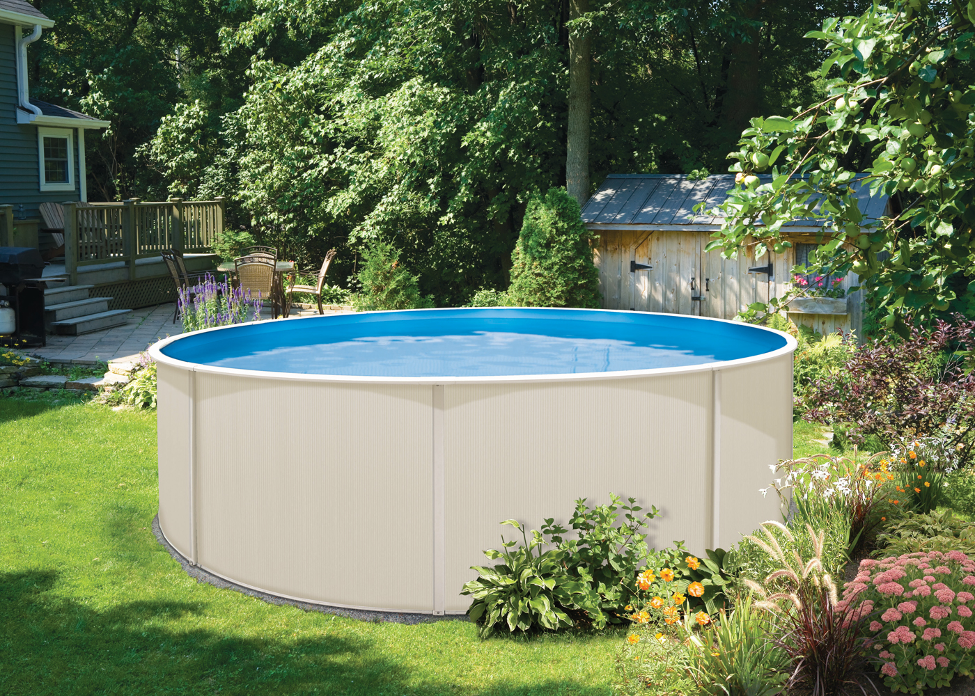 Blue lagoon above ground swimming pool kits for On ground pools