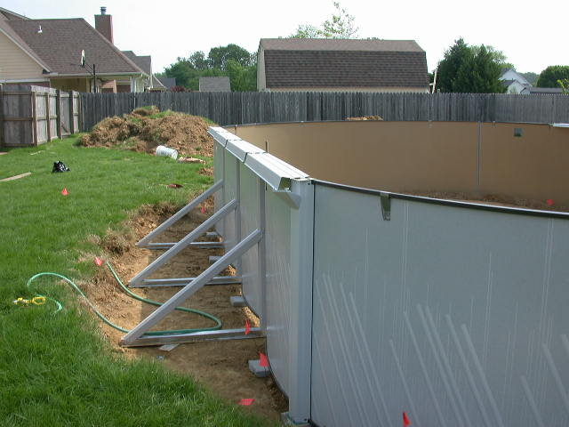 Install The Pool Wall As Indicated In Oval Installation Manual Step 9 Use Patio Blocks Or Bricks To Level Track If Needed