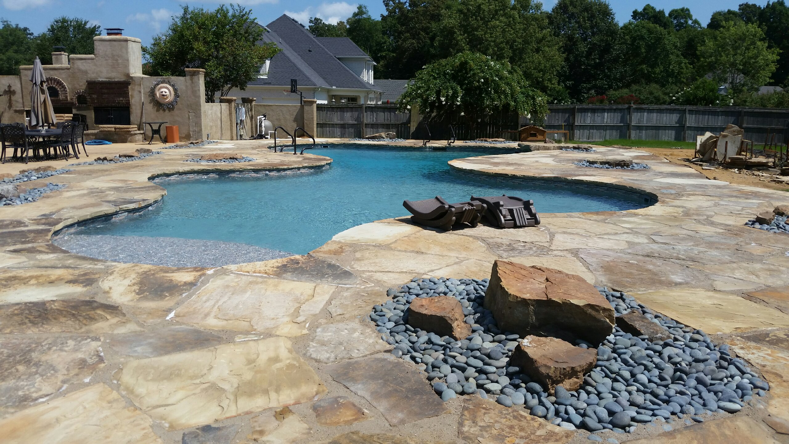 Completely Custom Pool Shape With Built In Sundeck Step And More