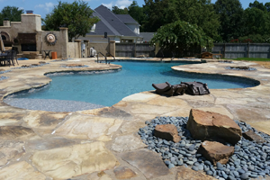 Completely Custom Pool Shape with Built In Sundeck, Step and More!