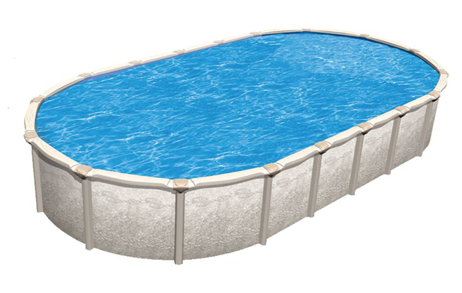 Sunset cove above ground pool liners royal swimming pools for Oval swimming pool