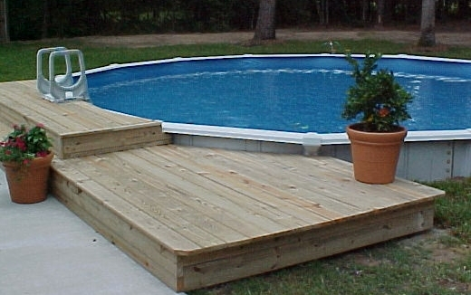 24 round set partially inground pool pool - Above Ground Pool Steps Wood