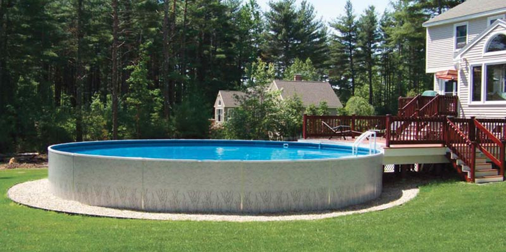 Semi inground swimming pool kits for In ground pool deck ideas