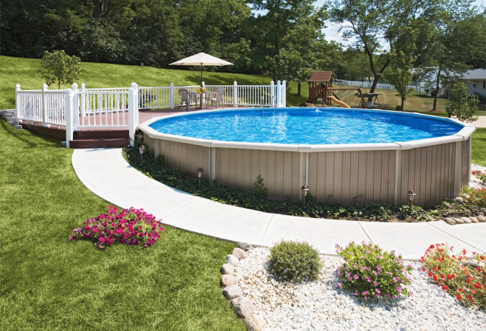 Semi inground pools royal swimming pools for Semi inground swimming pools