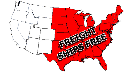 Free Shipping On Freight Items to 37 Contiguous US States