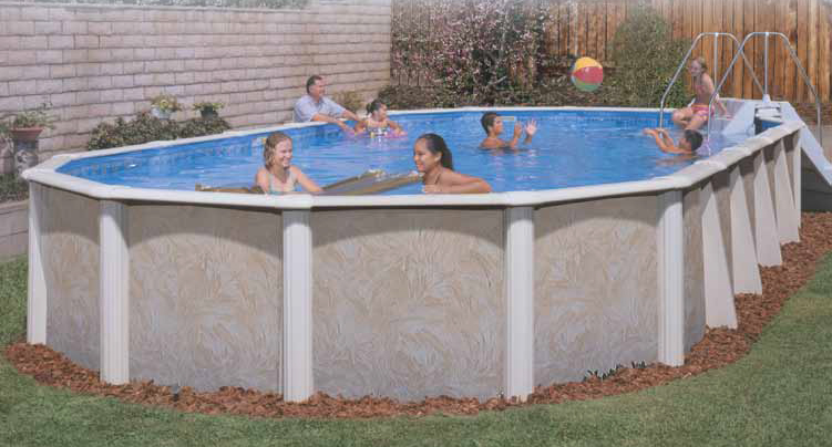 Lomart whispering wind ii semi inground pool - Above ground oval swimming pools for sale ...